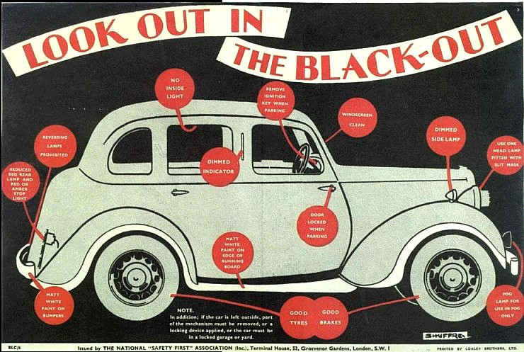 An Image of a Poster Advising Motorists of how they Should Prepare and use their Car in the Blackout