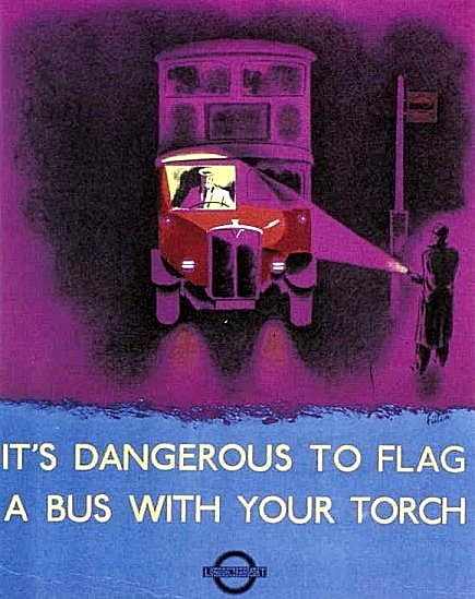 An Image of a Poster Reminding Pedestrians not to Flag a Bus with their Torch