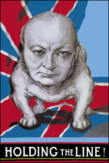 An Image of a Poster Showing Churchill as a Bulldog and Holding the Line