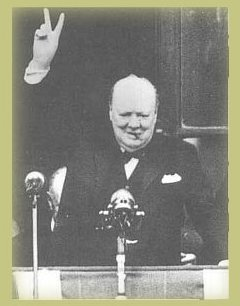 PICTURE:  'V is for Victory' - Churchill speaks to the crowds