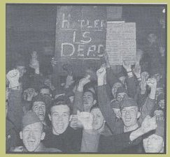 PICTURE:  News of Hitler's death is announced.